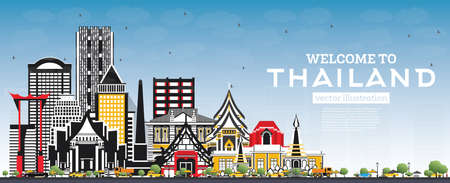 Welcome to Thailand City Skyline with Color Buildings and Blue Sky. Vector Illustration. Tourism Concept with Historic Architecture. Thailand Cityscape with Landmarks.