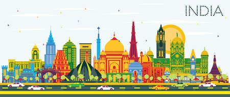 India City Skyline with Color Buildings and Blue Sky. Delhi. Mumbai, Bangalore, Chennai. Vector Illustration. Travel and Tourism Concept with Historic Architecture. India Cityscape with Landmarks. Vector Illustration