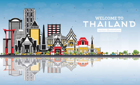 Welcome to Thailand City Skyline with Color Buildings, Blue Sky and Reflections. Vector Illustration. Tourism Concept with Historic Architecture. Thailand Cityscape with Landmarks. 일러스트