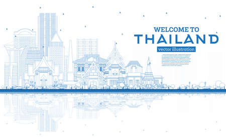 Outline Welcome to Thailand City Skyline with Blue Buildings and Reflections. Vector Illustration. Tourism Concept with Historic Architecture. Thailand Cityscape with Landmarks.