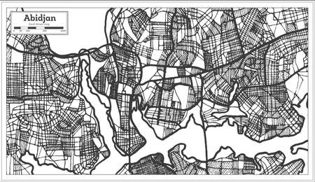 Abidjan Ivory Coast City Map in Retro Style. Outline Map. Vector Illustration.
