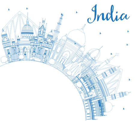 Outline India City Skyline with Blue Buildings and Copy Space. Delhi. Hyderabad. Kolkata. Vector Illustration. Travel and Tourism Concept with Historic Architecture. India Cityscape with Landmarks.