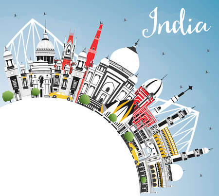 India City Skyline with Color Buildings, Blue Sky and Copy Space. Delhi. Hyderabad. Kolkata. Vector Illustration. Travel and Tourism Concept with Historic Architecture. India Cityscape with Landmarks.