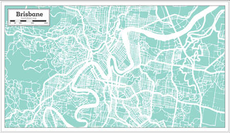 Brisbane Australia City Map in Retro Style. Outline Map. Vector Illustration. 向量圖像