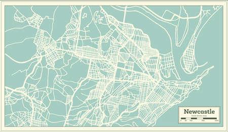 Newcastle Australia City Map in Retro Style. Outline Map. Vector Illustration. Stock Vector - 116794676