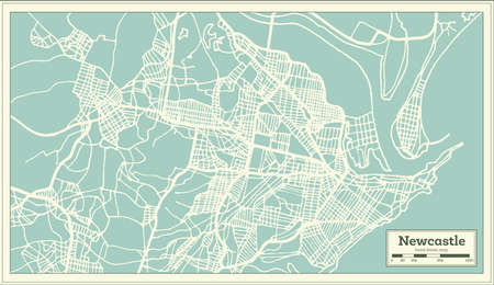 Newcastle Australia City Map in Retro Style. Outline Map. Vector Illustration. Illustration