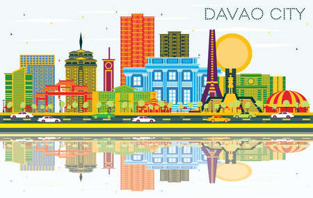 Davao City Philippines Skyline with Color Buildings, Blue Sky and Reflections. Vector Illustration. Business Travel and Tourism Illustration with Modern Architecture.