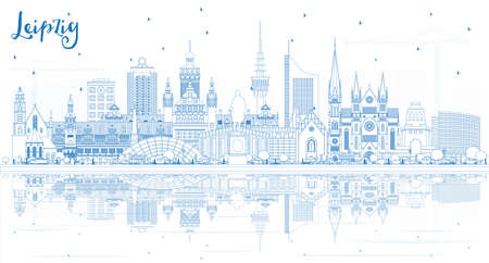 Outline Leipzig Germany City Skyline with Blue Buildings and Reflections. Vector Illustration. Business Travel and Tourism Concept with Historic Architecture. Leipzig Cityscape with Landmarks. Illustration