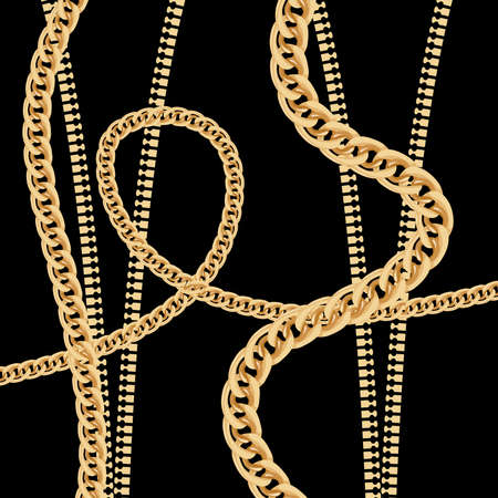 Gold Chain and Metal Zipper on Black Background. Vector Illustration.