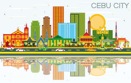 Cebu City Philippines Skyline with Color Buildings, Blue Sky and Reflections. Vector Illustration. Business Travel and Tourism Concept with Modern Architecture. Cebu City Cityscape with Landmarks. Vector Illustration