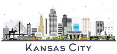 Kansas City Missouri Skyline with Color Buildings Isolated on White. Vector Illustration. Business Travel and Tourism Concept with Modern Architecture. Kansas City Cityscape with Landmarks.