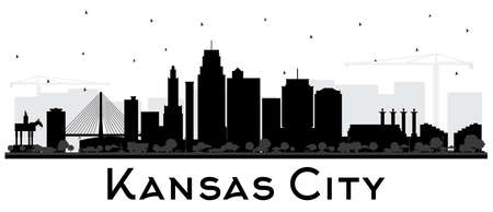 Kansas City Missouri Skyline Silhouette with Black Buildings Isolated on White. Vector Illustration. Business Travel and Tourism Concept with Modern Architecture. Kansas City Cityscape with Landmarks.