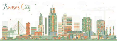 Kansas City Missouri Skyline with Color Buildings. Vector Illustration. Business Travel and Tourism Concept with Modern Architecture. Kansas City Cityscape with Landmarks.