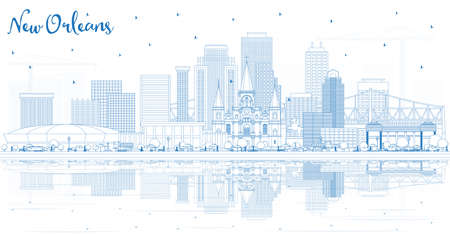 Outline New Orleans Louisiana City Skyline with Blue Buildings and Reflections. Vector Illustration. Tourism Concept with Modern Architecture. New Orleans USA Cityscape with Landmarks. Illustration