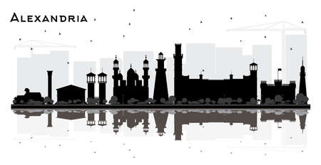 Alexandria Egypt City Skyline Silhouette with Black Buildings and Reflections Isolated on White. Vector Illustration. Tourism Concept with Historic Architecture. Alexandria Cityscape with Landmarks.