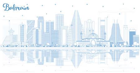 Décrire les toits de la ville de Bahreïn avec des bâtiments bleus et des reflets. Illustration vectorielle. Concept de voyage d'affaires et de tourisme à l'architecture moderne. Paysage urbain de Bahreïn avec des points de repère.
