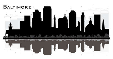 Baltimore Maryland City Skyline Silhouette with Black Buildings and Reflections Isolated on White. Vector Illustration. Tourism Concept with Historic Architecture. Baltimore Cityscape with Landmarks. 向量圖像