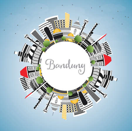 Bandung Indonesia City Skyline with Gray Buildings, Blue Sky and Copy Space. Vector Illustration. Business Travel and Tourism Concept with Historic Architecture. Bandung Cityscape with Landmarks.