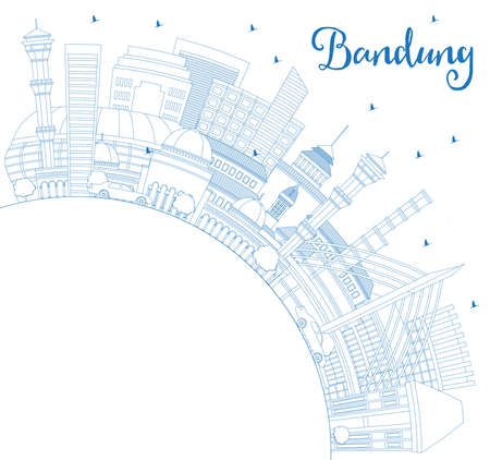 Outline Bandung Indonesia City Skyline with Blue Buildings and Copy Space. Vector Illustration. Business Travel and Tourism Concept with Historic Architecture. Bandung Cityscape with Landmarks.