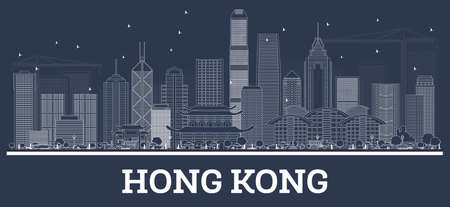 Outline Hong Kong China City Skyline with White Buildings. Vector Illustration. Business Travel and Tourism Concept with Modern Architecture. Hong Kong Cityscape with Landmarks.