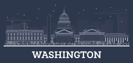 Outline Washington DC Skyline with White Buildings. Vector Illustration. Business Travel and Tourism Concept with Historic Buildings. Washington DC Cityscape with Landmarks.