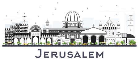 Orizzonte di Gerusalemme Israele con edifici grigi isolati su bianco. Illustrazione di vettore. Viaggi d'affari e concetto di turismo con architettura storica. Paesaggio urbano di Gerusalemme con punti di riferimento.