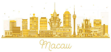 Macau China City Skyline Silhouette with Golden Buildings Isolated on White. Vector Illustration. Business Travel and Tourism Concept with Modern Architecture. Macau Cityscape with Landmarks. Ilustração