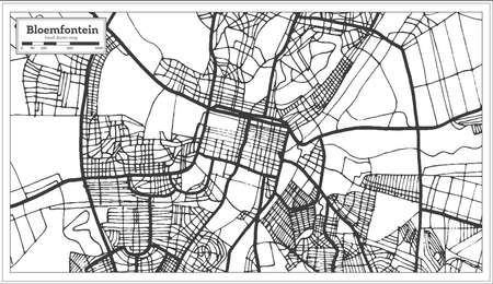 Bloemfontein South Africa City Map in Retro Style. Outline Map. Vector Illustration.