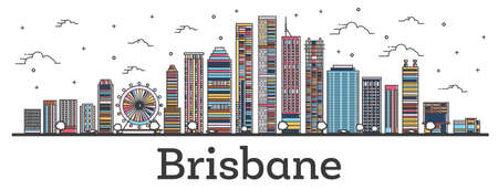 Outline Brisbane Australia City Skyline with Color Buildings Isolated on White. Vector Illustration. Brisbane Cityscape with Landmarks.  イラスト・ベクター素材