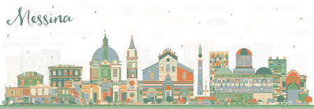 Messina Sicily Italy City Skyline with Color Buildings. Vector Illustration. Business Travel and Concept with Modern Architecture. Messina Cityscape with Landmarks.