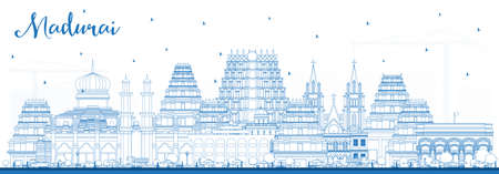 Outline Madurai India City Skyline with Blue Buildings. Vector Illustration. Business Travel and Concept with Historic Architecture. Madurai Cityscape with Landmarks.