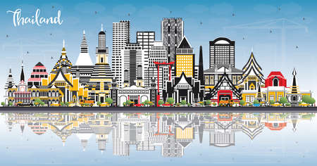 Thailand City Skyline with Color Buildings, Blue Sky and Reflections. Vector Illustration. Tourism Concept with Historic Architecture. Thailand Cityscape with Landmarks.
