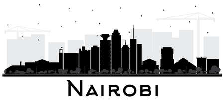 Nairobi Kenya City Skyline Silhouette with Black Buildings Isolated on White. Vector Illustration. Business Travel and Concept with Modern Architecture. Nairobi Cityscape with Landmarks. Ilustracja