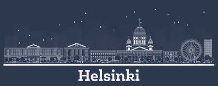 Outline Helsinki Finland City Skyline with White Buildings. Vector Illustration. Business Travel and Tourism Concept with Historic Architecture. Helsinki Cityscape with Landmarks. Иллюстрация