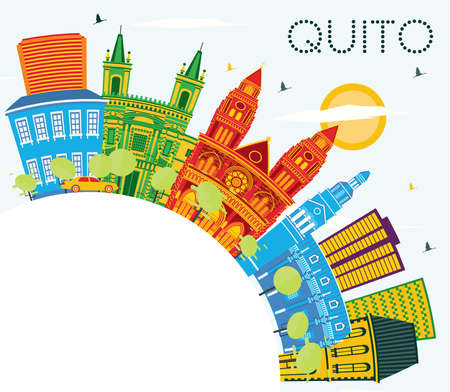 Quito Ecuador City Skyline with Color Buildings, Blue Sky and Copy Space. Vector Illustration. Business Travel and Tourism Concept with Historic Architecture. Quito Cityscape with Landmarks. 矢量图像