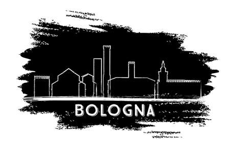 Bologna Italy City Skyline Silhouette. Hand Drawn Sketch. Vector Illustration. Business Travel and Tourism Concept with Historic Architecture. Bologna Cityscape with Landmarks. Vectores
