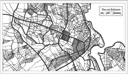 Dar es Salaam Tanzania City Map in Retro Style. Outline Map. Vector Illustration.