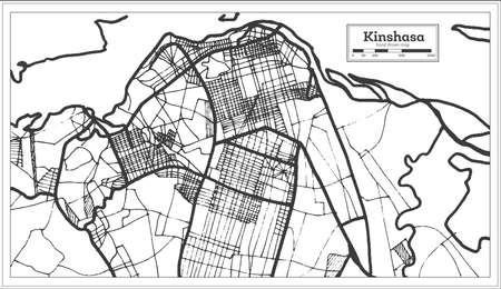 Kinshasa Democratic Republic of the Congo City Map in Retro Style. Outline Map. Vector Illustration.