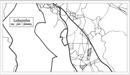 Lobamba Swaziland City Map in Retro Style. Outline Map. Vector Illustration.