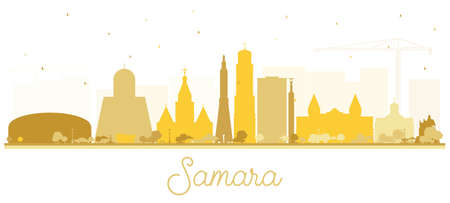 Samara Russia City Skyline Silhouette with Golden Buildings Isolated on White. Vector Illustration. Business Travel and Tourism Concept with Modern Architecture. Samara Cityscape with Landmarks.