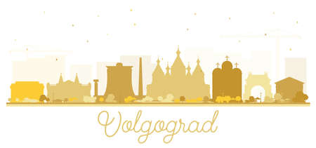Volgograd Russia City Skyline Silhouette with Golden Buildings Isolated on White. Vector Illustration. Travel and Tourism Concept with Historic Architecture. Volgograd Cityscape with Landmarks.