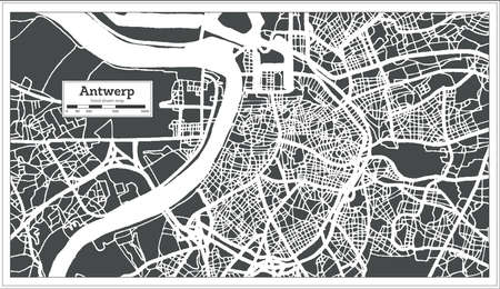 Antwerp City Map in Retro Style. Outline Map. Vector Illustration. Ilustrace