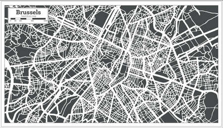 Brussels City Map in Retro Style. Outline Map. Vector Illustration. Ilustrace