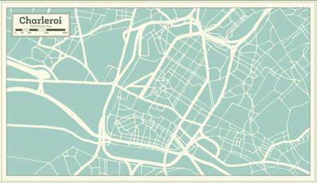 Charleroi City Map in Retro Style. Outline Map. Vector Illustration.