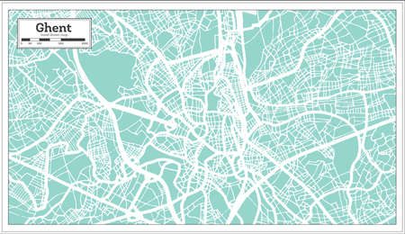 Ghent City Map in Retro Style. Outline Map. Vector Illustration.