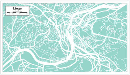 Liege City Map in Retro Style. Outline Map. Vector Illustration. Ilustrace