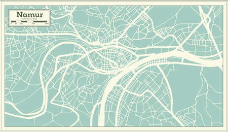 Namur City Map in Retro Style. Outline Map. Vector Illustration.