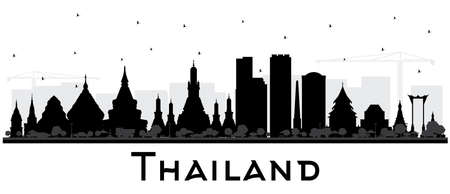 Thailand City Skyline Silhouette with Black Buildings Isolated on White. Vector Illustration. Tourism Concept with Historic Architecture. Thailand Cityscape with Landmarks.