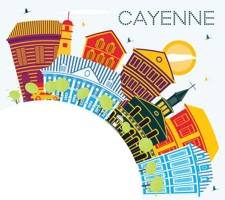 Cayenne French Guiana City Skyline with Color Buildings and Copy Space. Vector Illustration. Business Travel and Tourism Concept with Modern Architecture. Cayenne Cityscape with Landmarks.