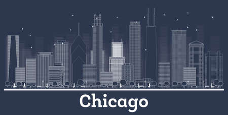 Outline Chicago Illinois City Skyline with White Buildings. Vector Illustration. Business Travel and Tourism Concept with Historic Architecture. Chicago Cityscape with Landmarks.